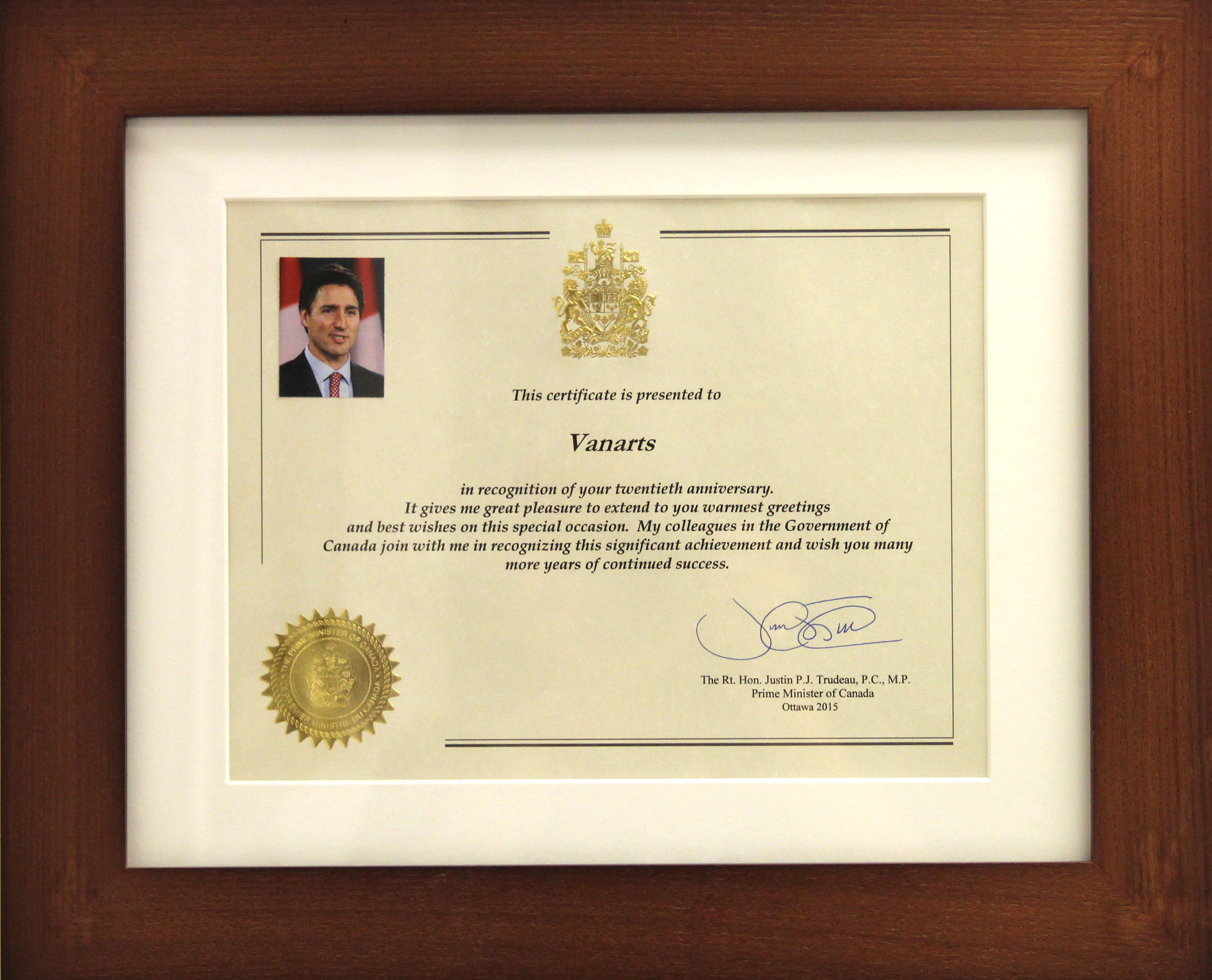 Prime Minister Of Canada Congratulates Vanarts On 20 Years