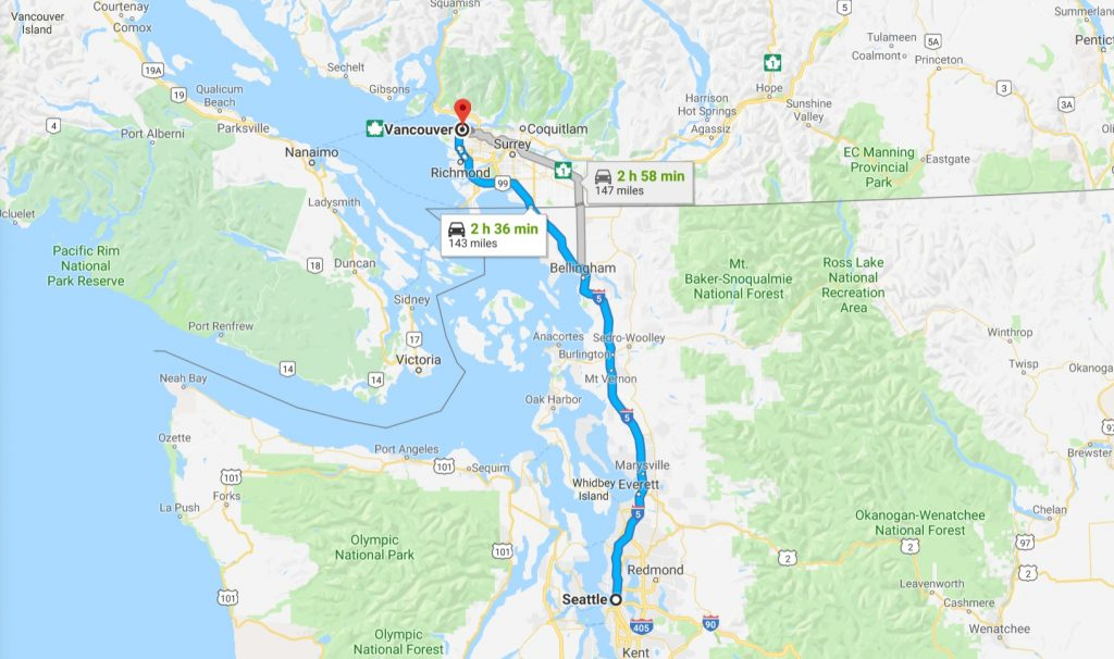 Map of travel between Vancouver and Seattle